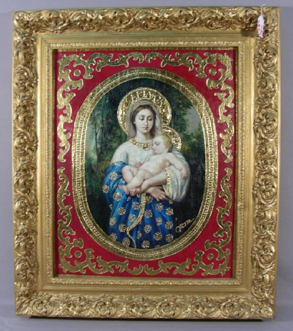 "VERY FINE ORIGINAL OIL ON CANVAS ""MADONNA & CHILD"" BY"