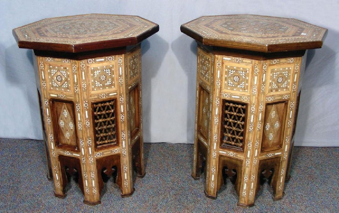 PAIR VINTAGE INLAID MOROCCAN SIDE TABLES