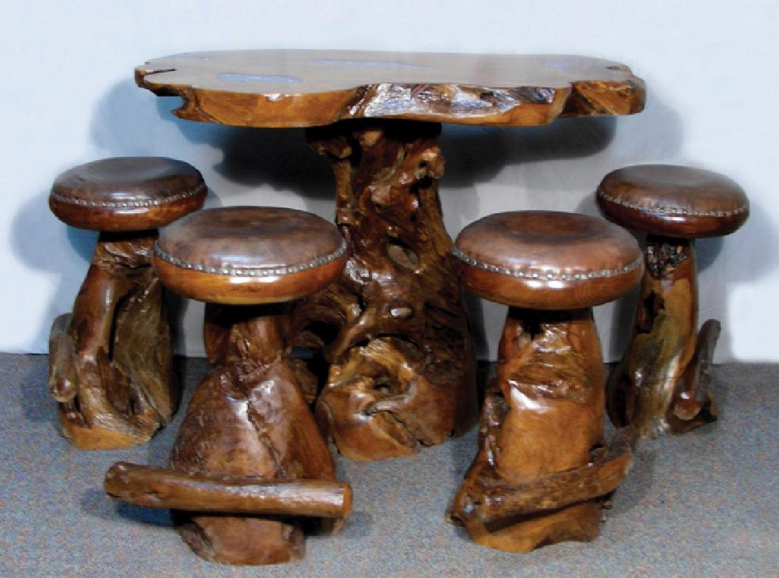 VERY UNUSUAL CUSTOM MADE TEAK TABLE WITH FOUR STOOLS