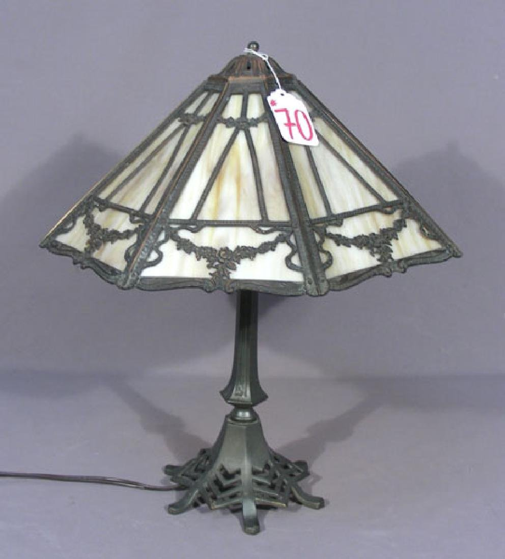 ANTIQUE IRON, METAL AND SLAG GLASS TABLE LAMP