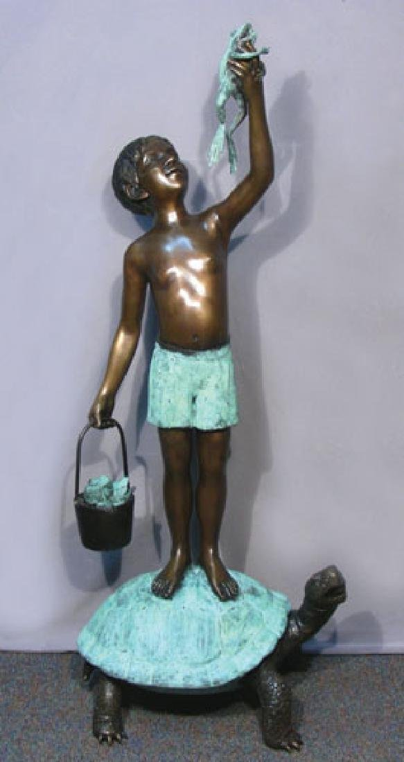 BRONZE SCULPTURE/FOUNTAIN OF BOY STANDING ON TURTLE