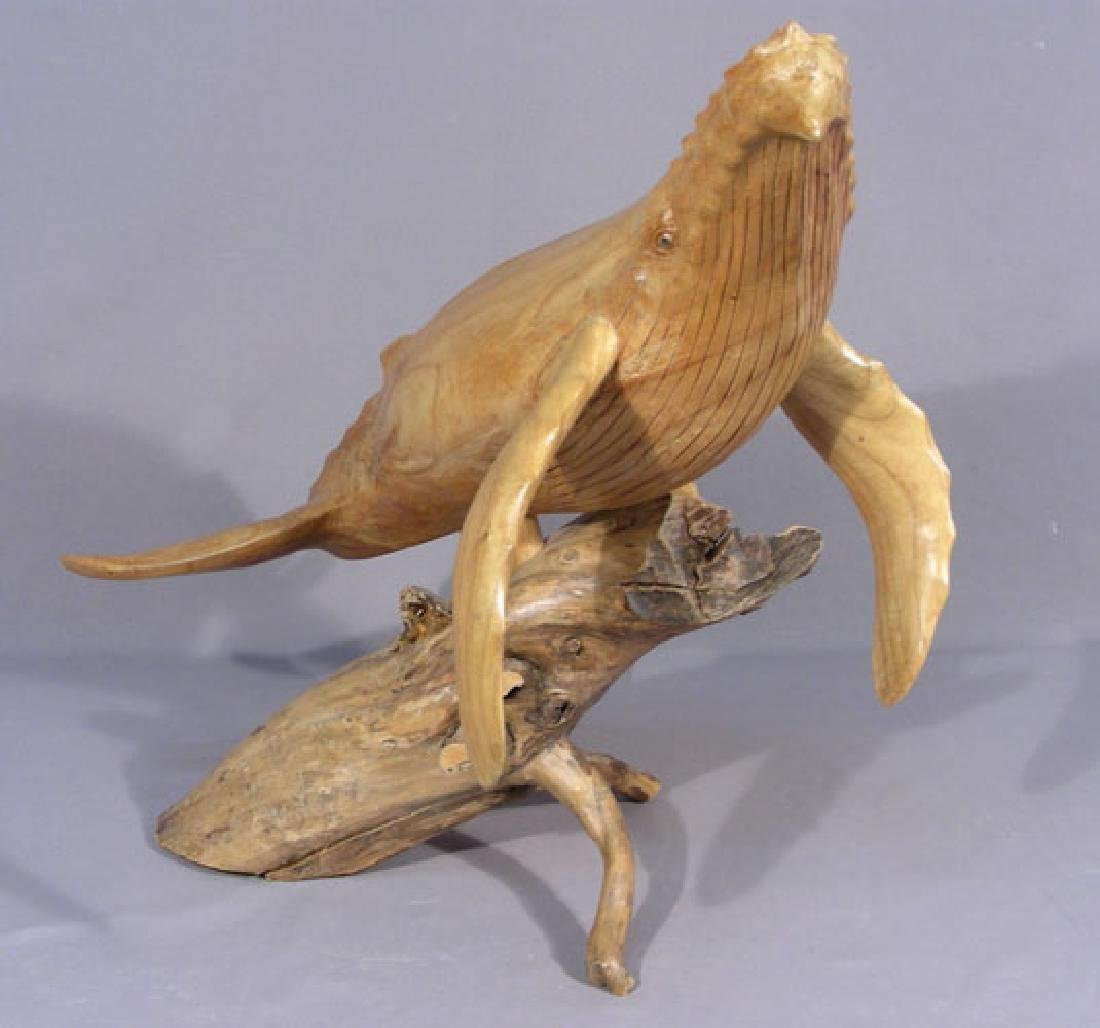 HAND CARVED WOODEN SCULPTURE OF WHALE