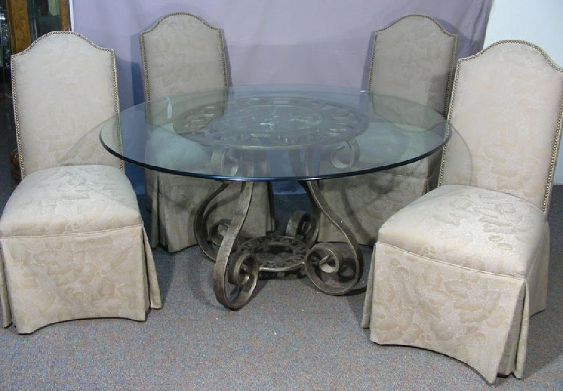 HIGH QUALITY LASERED IRON AND MARBLE TABLE WITH GLASS
