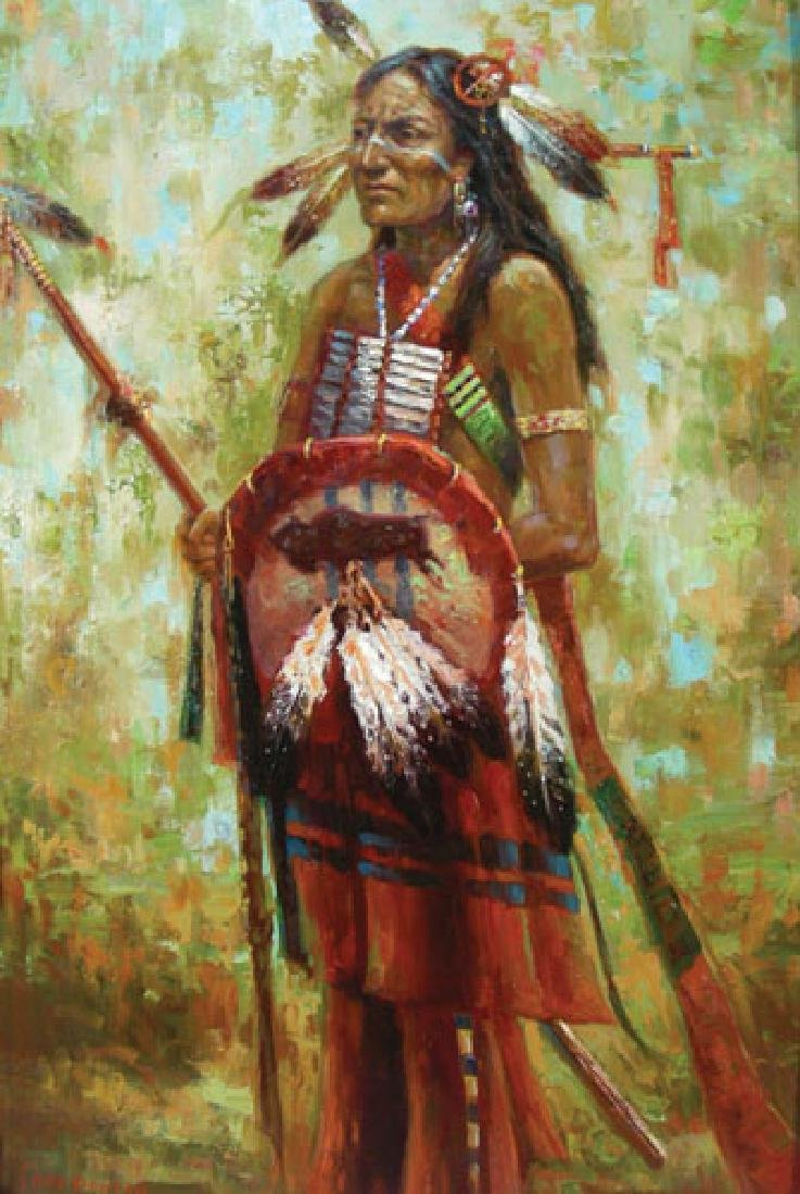"ORIGINAL OIL ON CANVAS ""STANDING INDIAN"" BY TROY DENTON"