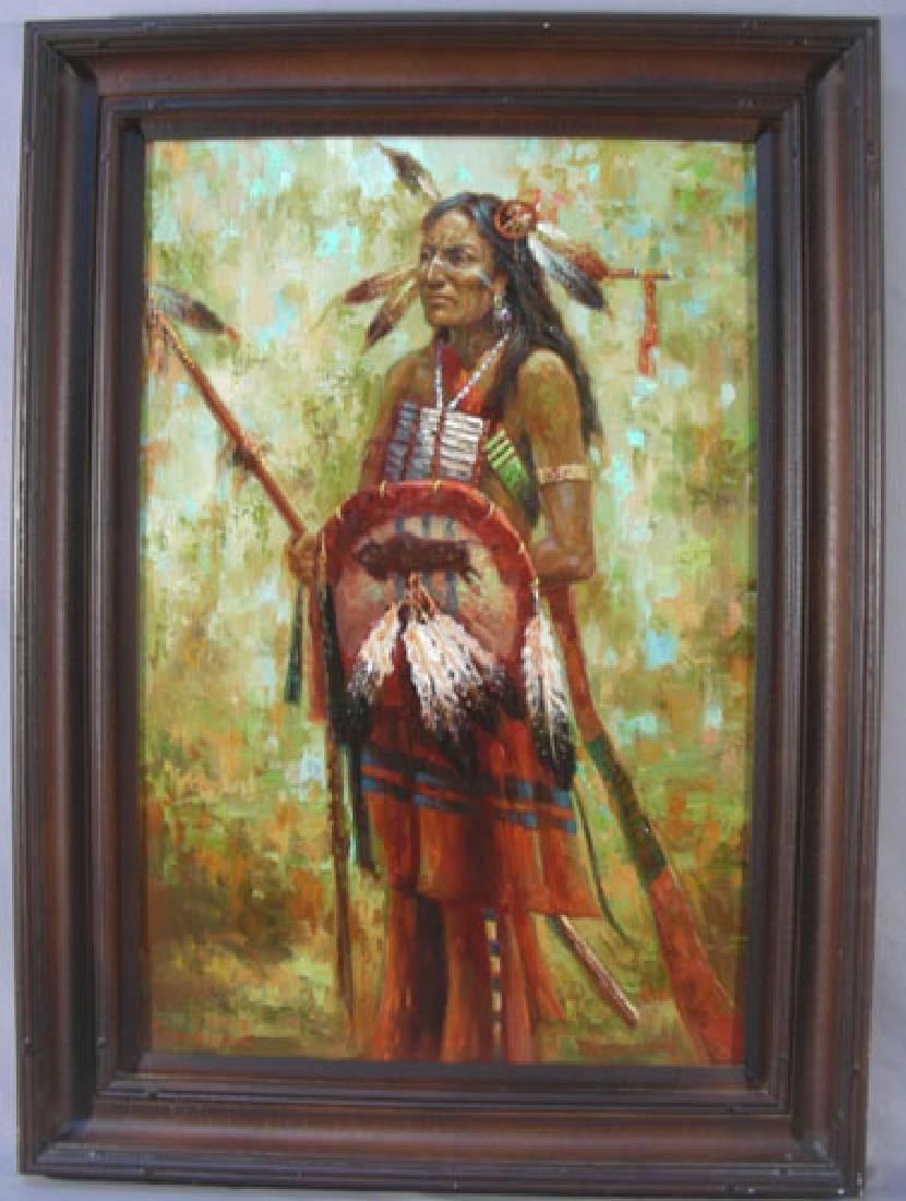 "ORIGINAL OIL ON CANVAS ""STANDING INDIAN"" BY TROY DENTON - 2"