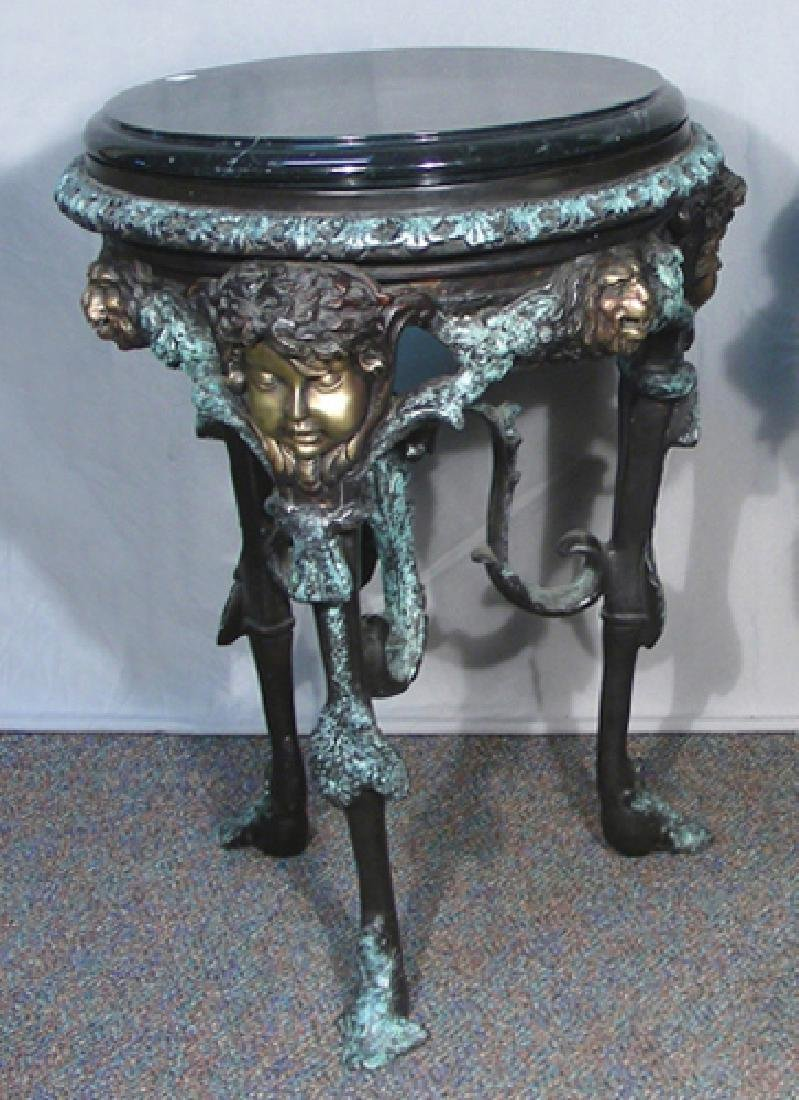 VERY FINE FRENCH BRONZE PEDESTAL TABLE WITH MARBLE TOP