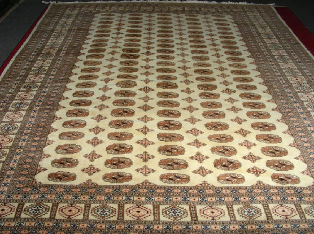 LARGE HAND KNOTTED BOKHARA AREA RUG