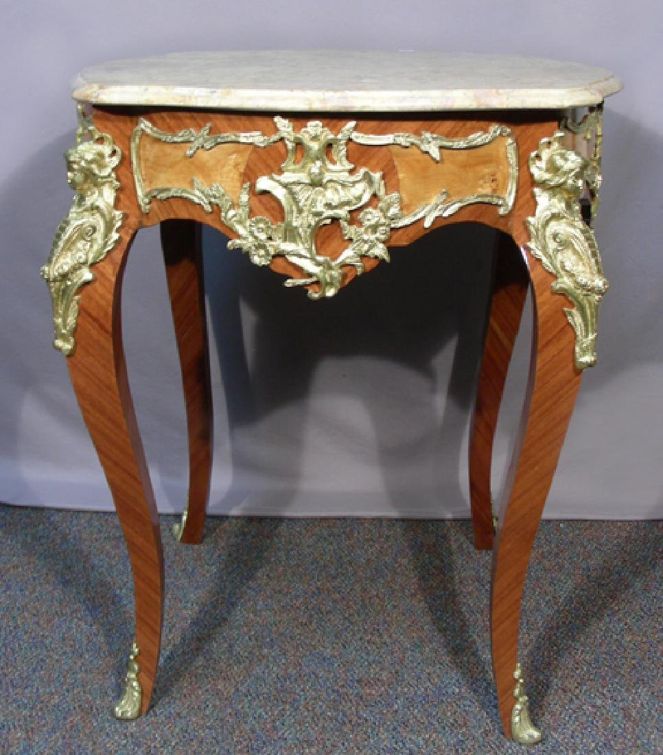 FRENCH SIDE TABLE WITH ORMOLU DECORATIONS & MARBLE TOP