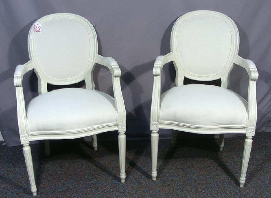 PAIR HAND PAINTED AND UPHOLSTERED ARMCHAIRS