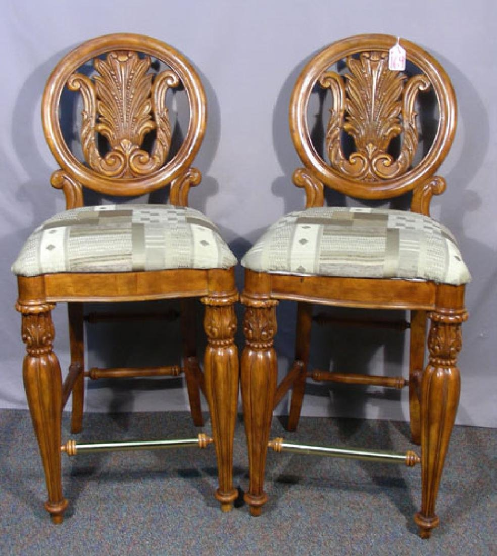 PAIR FINE HAND CARVED WOOD, BRASS AND UPHOLSTERED BAR