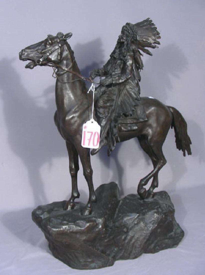 VINTAGE BRONZE SCULPTURE OF INDIAN ON HORSEBACK