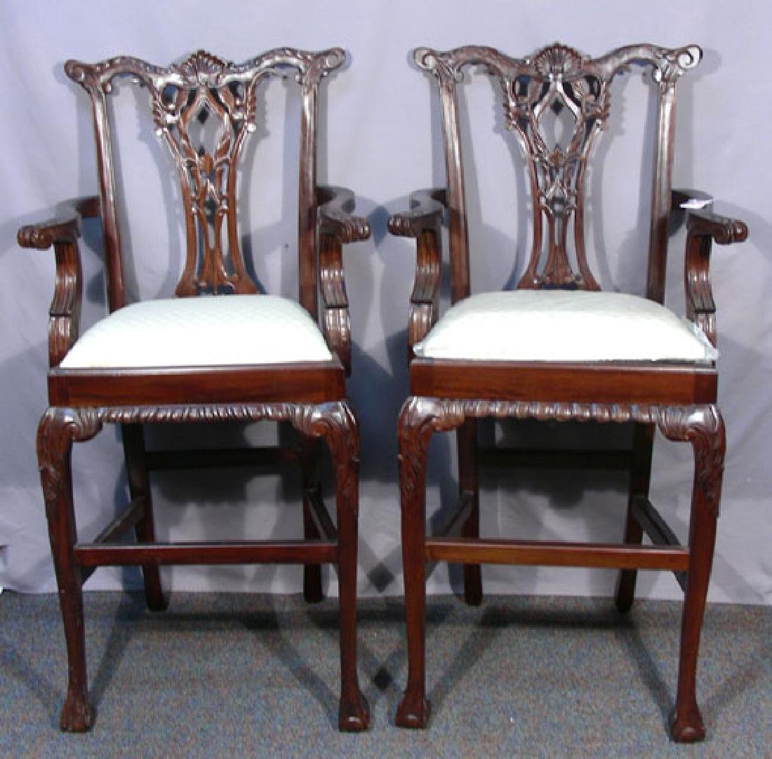 PAIR HAND CARVED CHIPPENDALE STYLE BAR STOOLS
