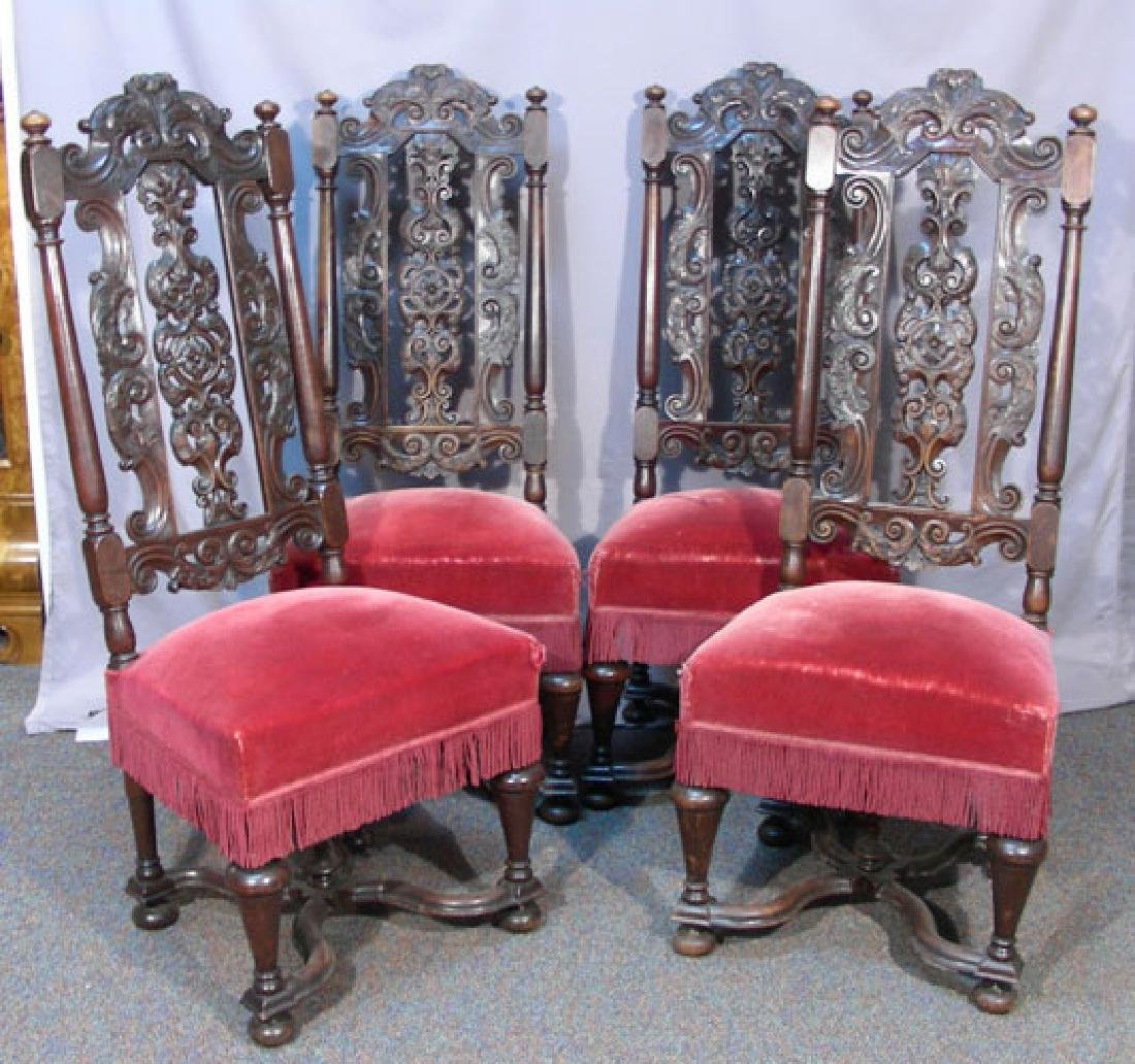FOUR FINE ANTIQUE HAND CARVED AND UPHOLSTERED CHAIRS