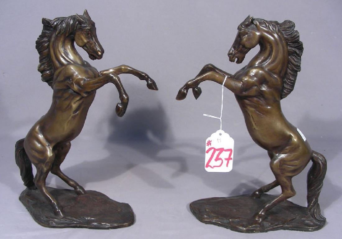 PAIR FINE BRONZE SCULPTURES OF REARING HORSES