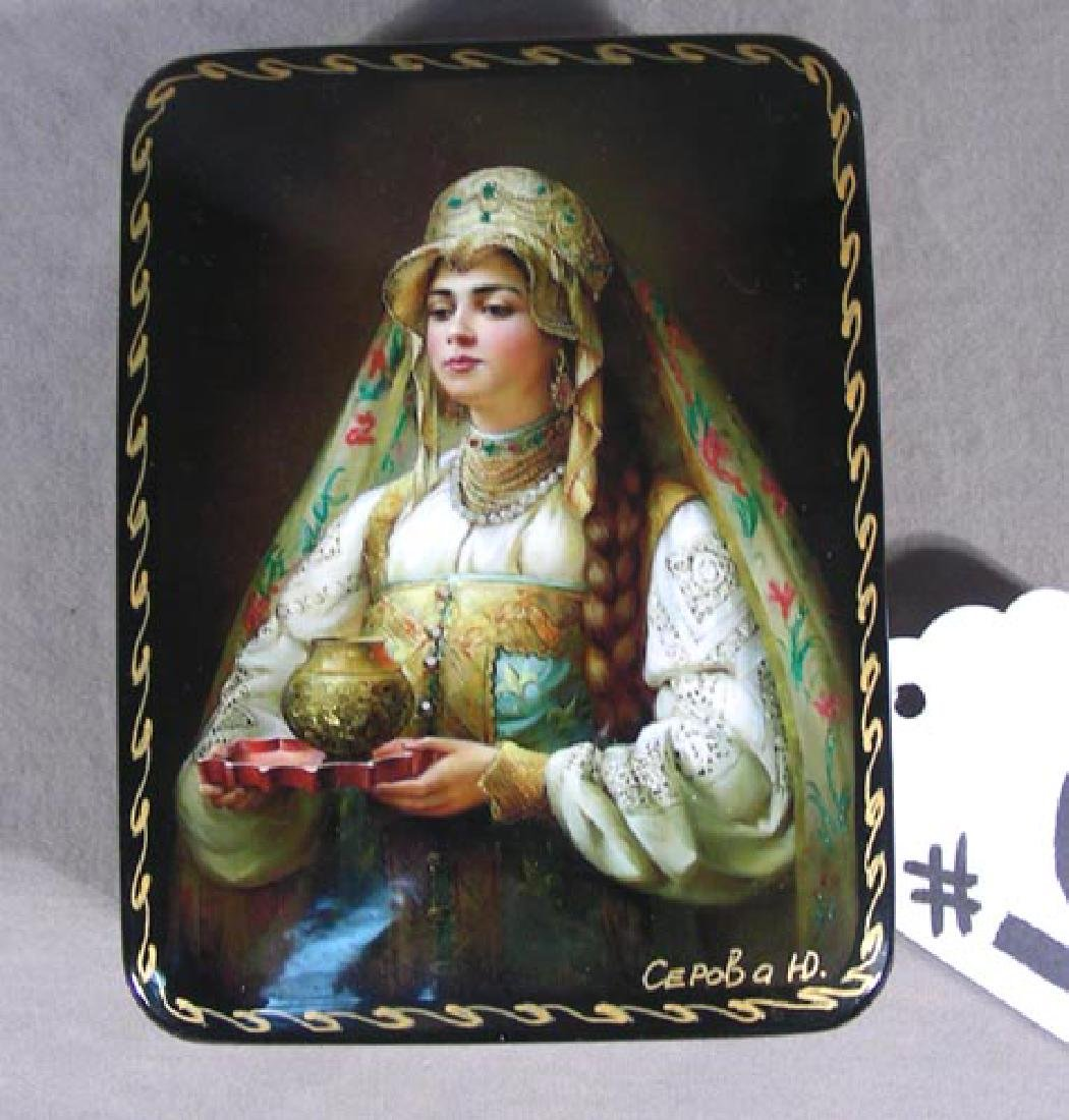 FINE HAND PAINTED RUSSIAN BLACK LACQUER BOX