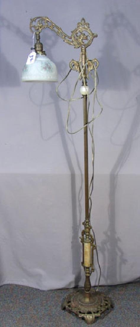 ANTIQUE GILT METAL, ONYX & GLASS FLOOR LAMP