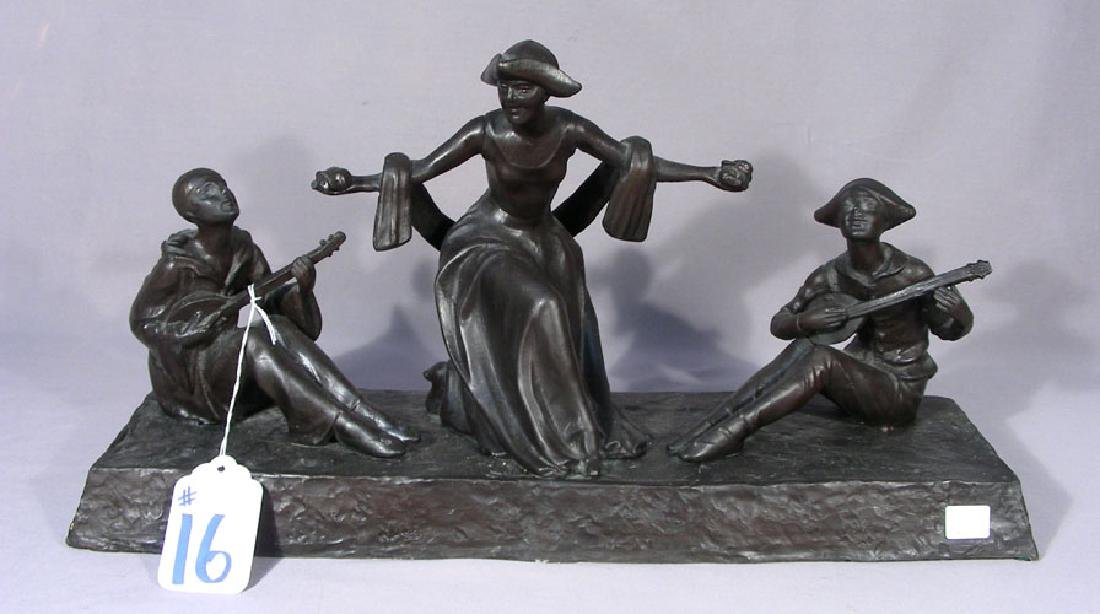 VINTAGE HEAVY BRONZE SCULPTURE OF THREE MUSICIANS