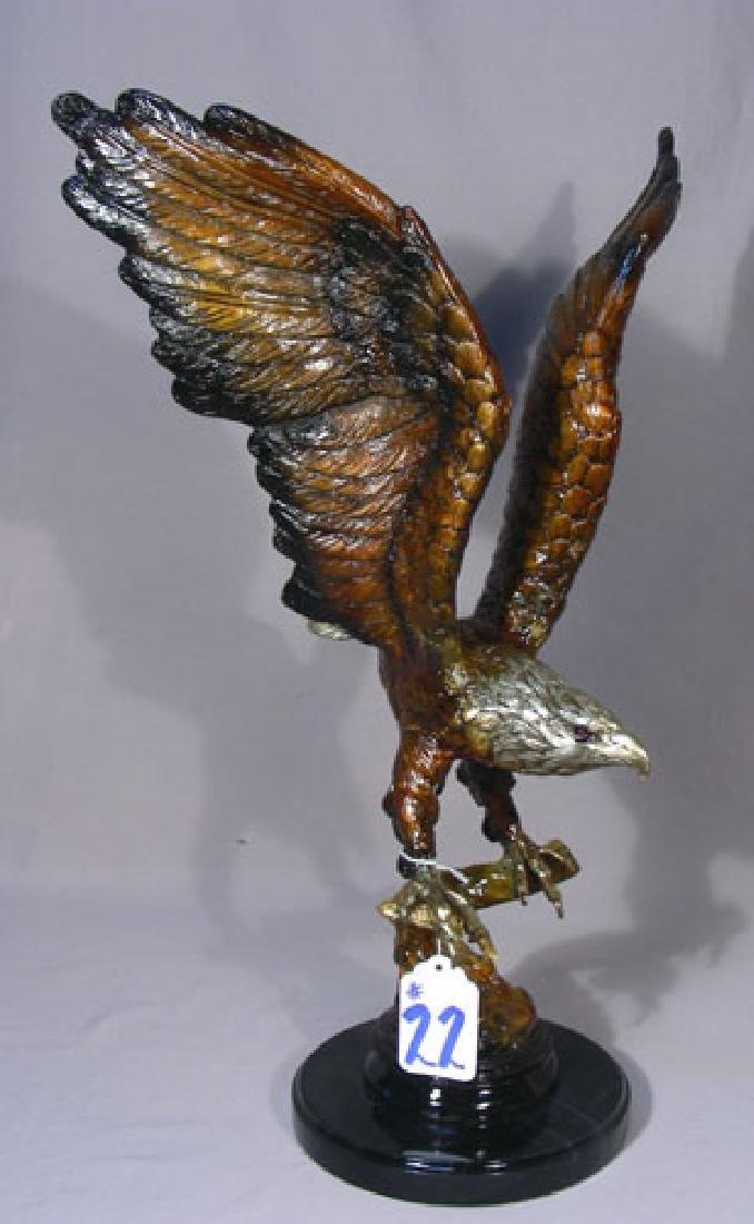 BRONZE SCULPTURE OF EAGLE IN FLIGHT