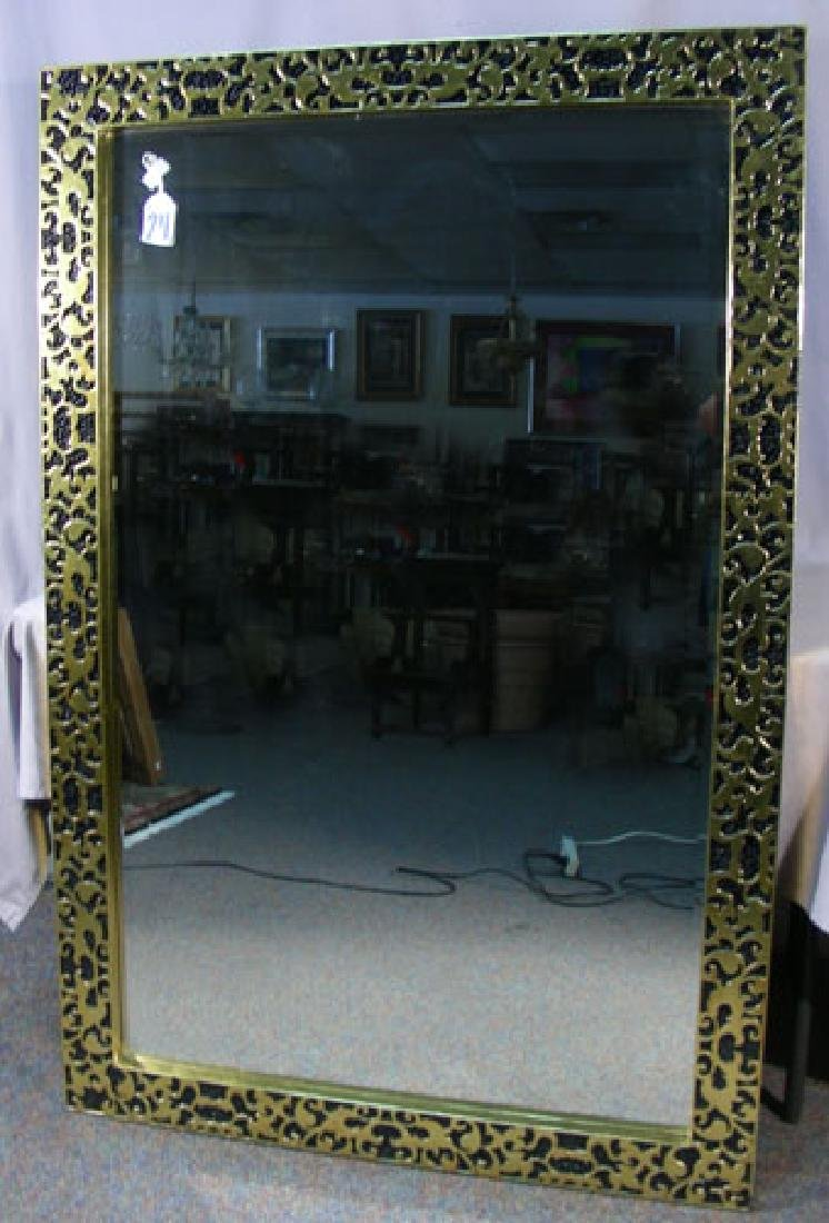 HAND PAINTED AND CARVED BEVELED GLASS MIRROR