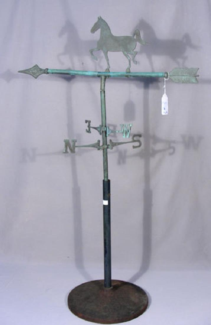 PAINTED CAST IRON & METAL HORSE MOTIF WEATHER VANE