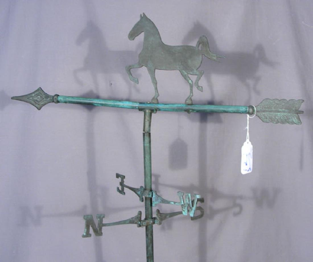 PAINTED CAST IRON & METAL HORSE MOTIF WEATHER VANE - 2
