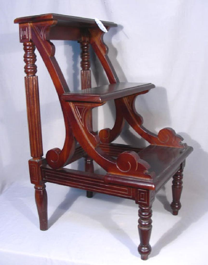 HAND CARVED MAHOGANY LIBRARY/WINE CELLAR STEPS