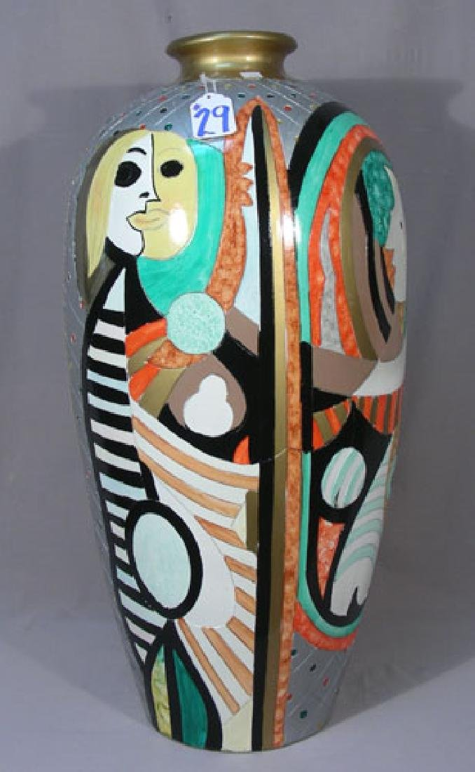 HAND PAINTED PICASSO STYLE FLOOR URN