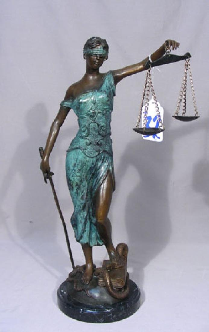 "FINE BRONZE SCULPTURE ""SCALES OF JUSTICE"""