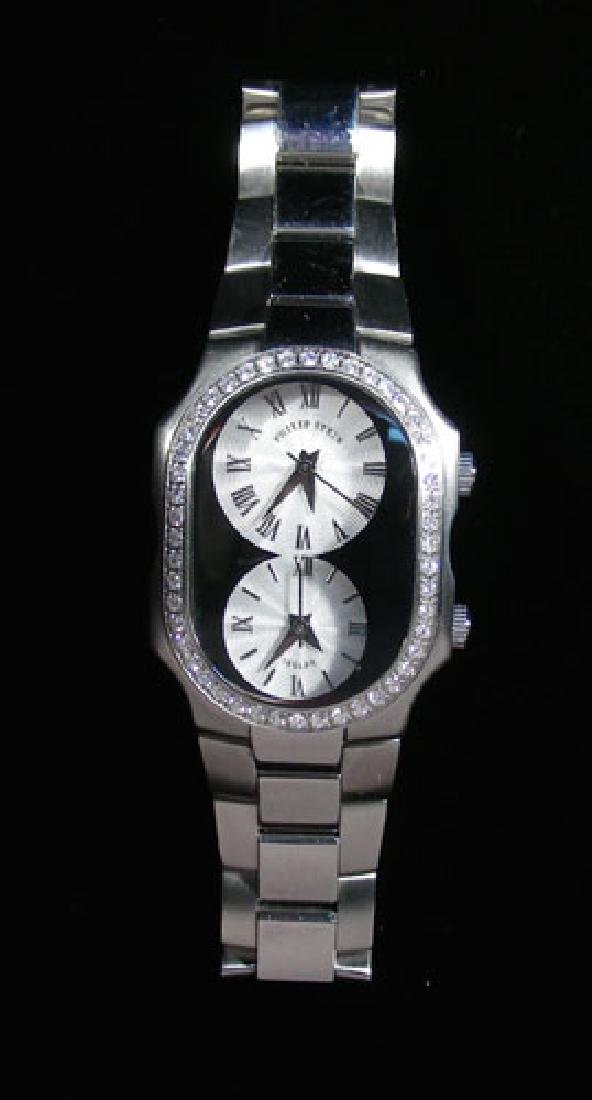 PHILLIP STEIN STAINLESS STEEL AND DIAMOND WRIST WATCH
