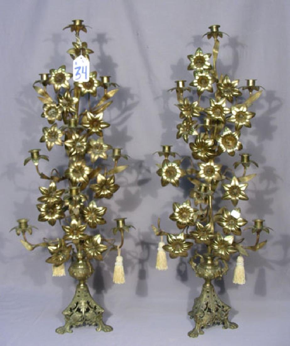 PAIR OLD ITALIAN TALL CANDELABRA