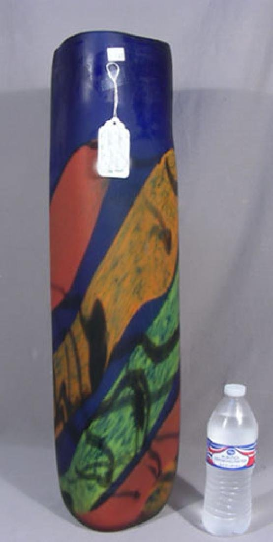 TALL MODERN HAND BLOWN ART GLASS VASE