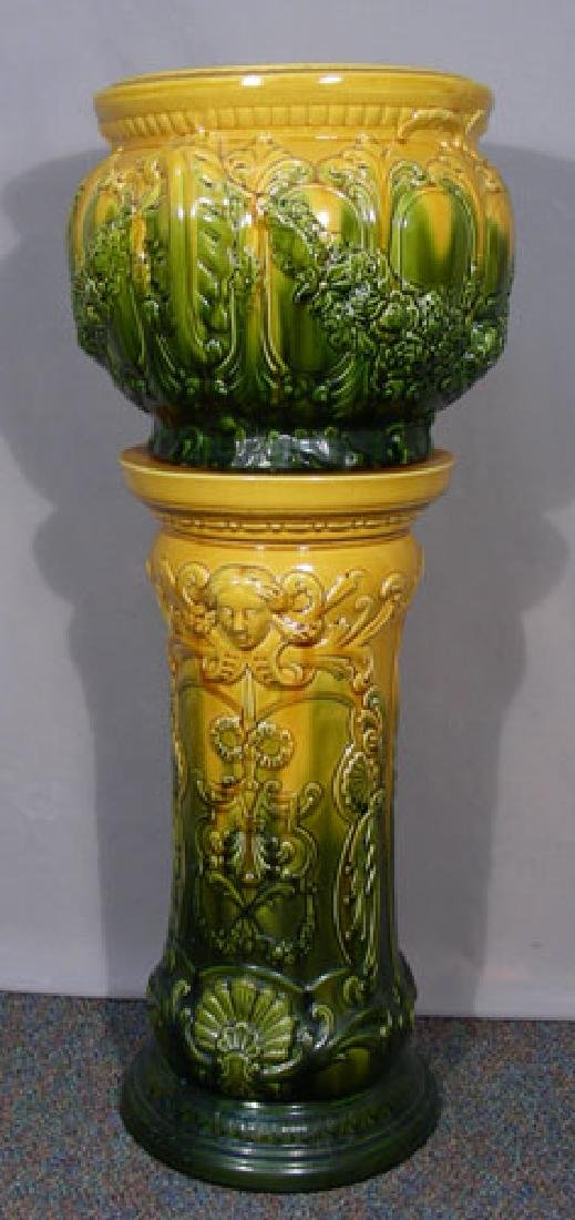 ANTIQUE ENGLISH MAJOLICA JARDINIERE ON STAND