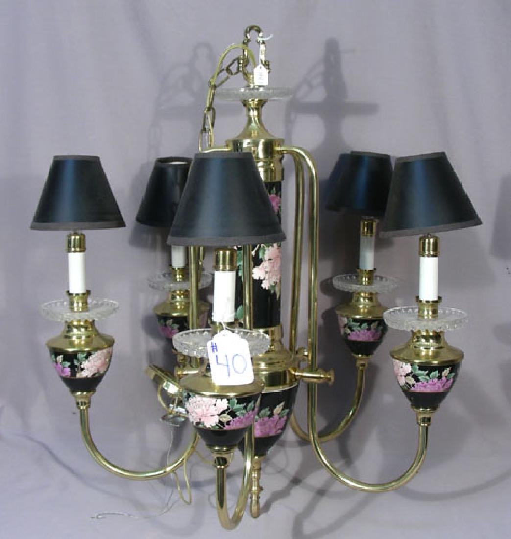 UNUSUAL CHINESE BRASS AND CLOISONNE CHANDELIER
