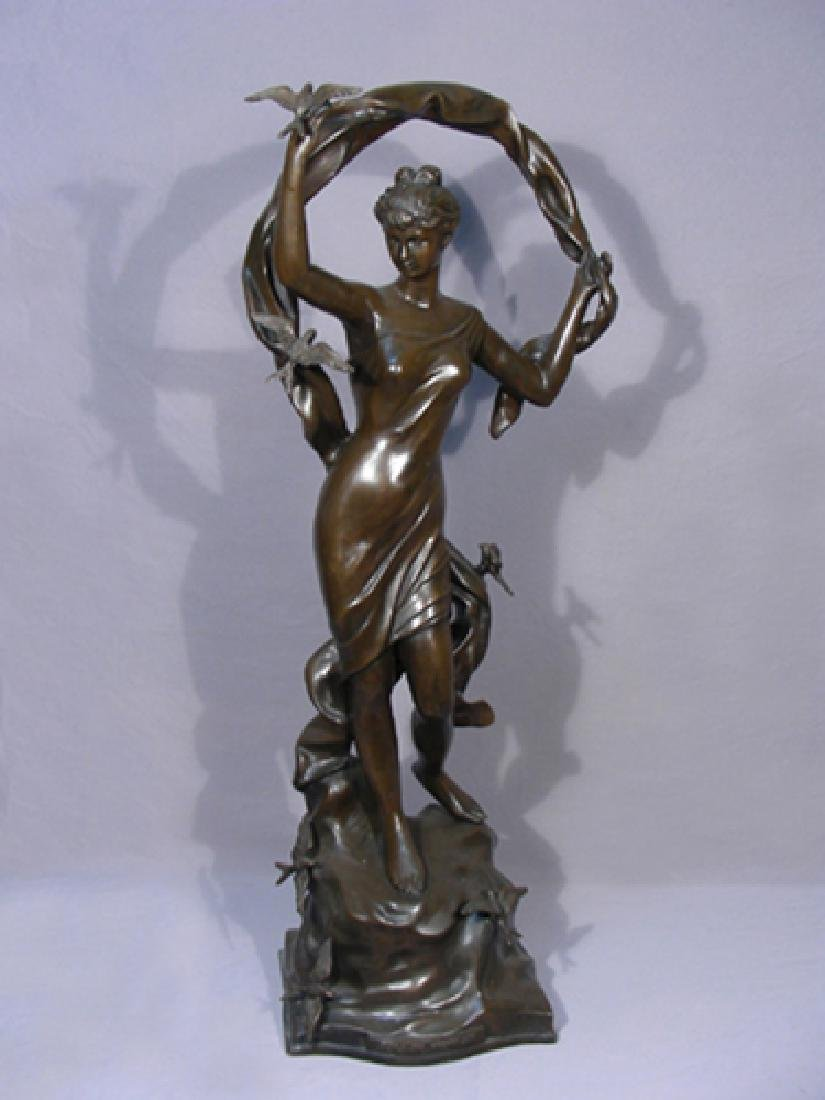FRENCH BRONZE SCULPTURE OF WOMAN WITH BIRDS