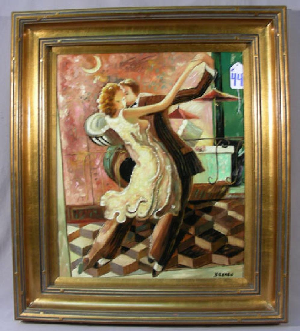 MODERN ORIGINAL OIL ON CANVAS:  DANCING COUPLE