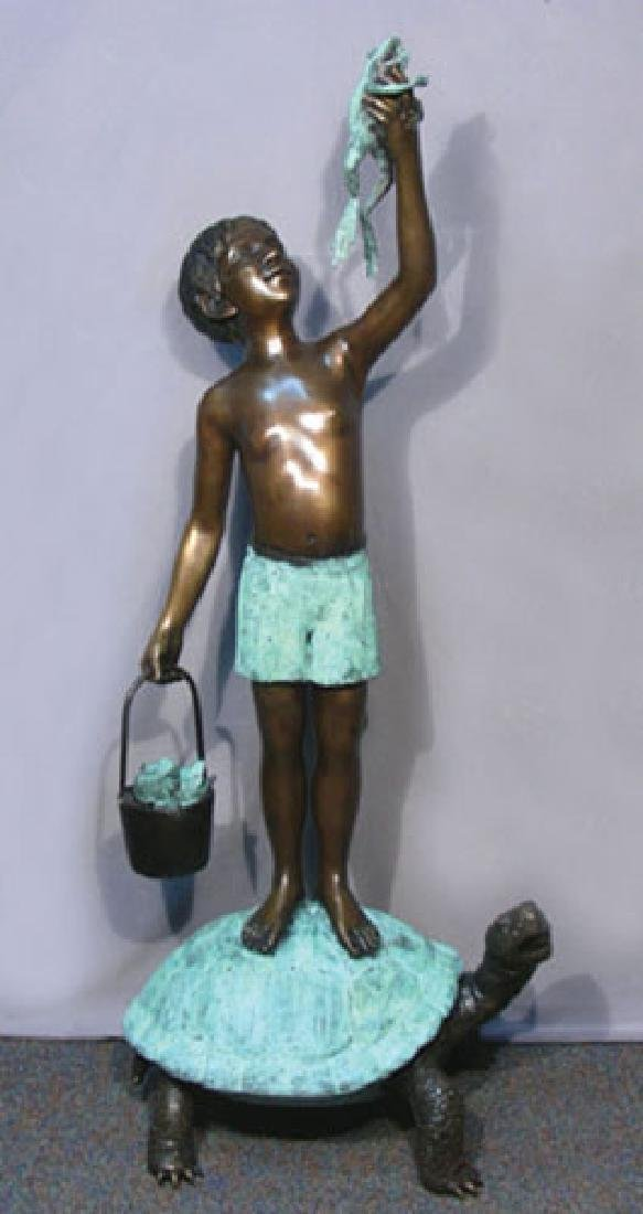 LARGE BRONZE SCULPTURE/FOUNTAIN OF BOY STANDING ON