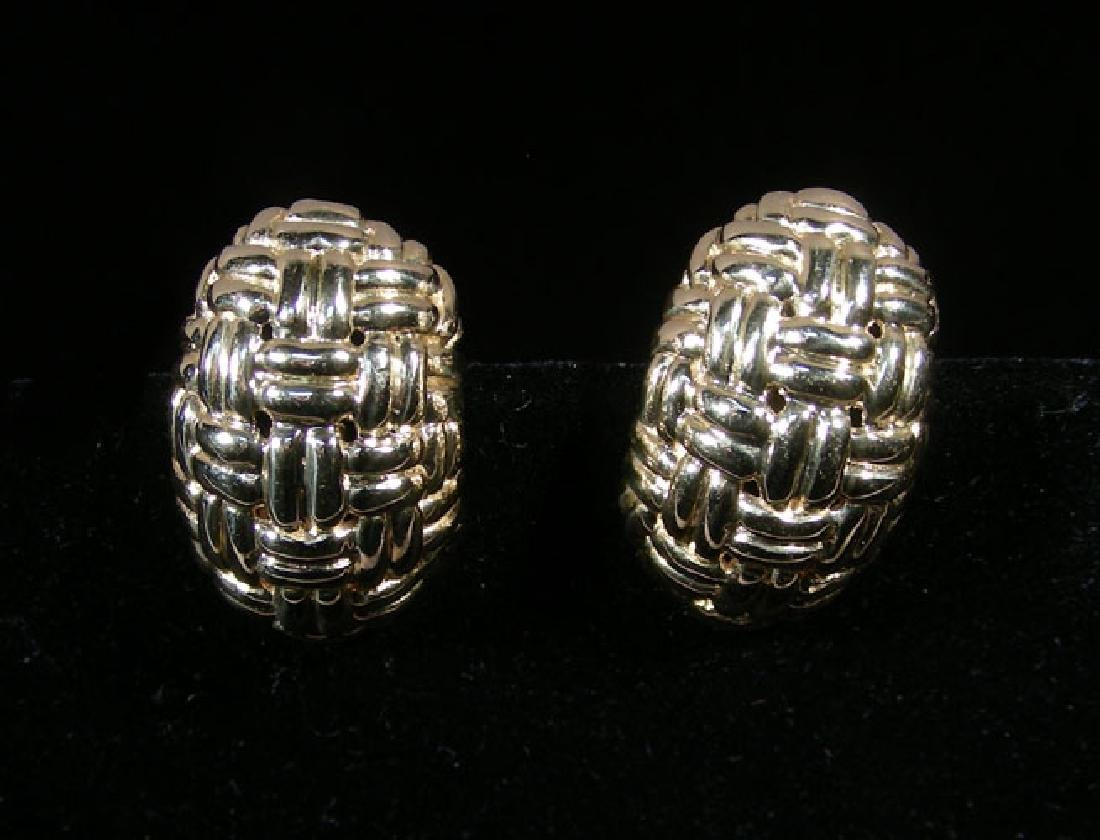 DESIGNER HENRY DANKNER 14K YELLOW GOLD EARRINGS