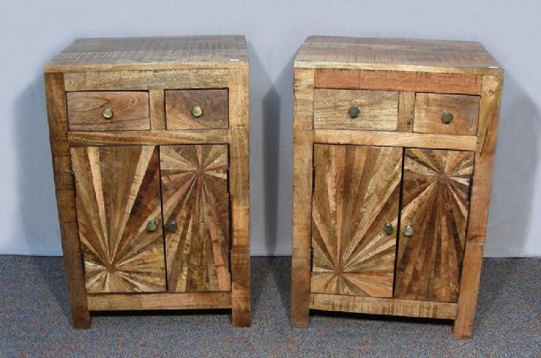 PAIR RUSTIC WOODEN NIGHT STANDS