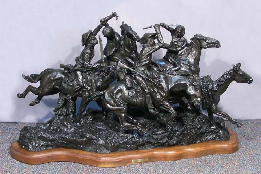 "VERY LARGE VINTAGE BRONZE SCULPTURE ""THE OLD DRAGOONS"""
