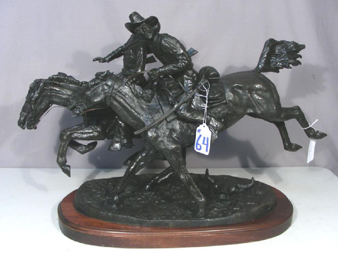 "VINTAGE BRONZE SCULPTURE ""WOUNDED BUNKIE"" AFTER FREDERI"