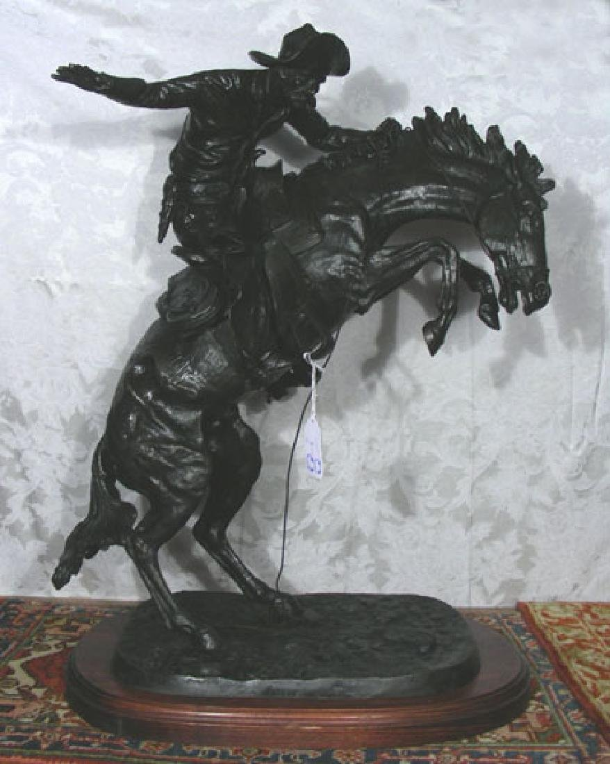 "LARGE VINTAGE BRONZE SCULPUTRE ""BRONCO BUSTER"" AFTER"