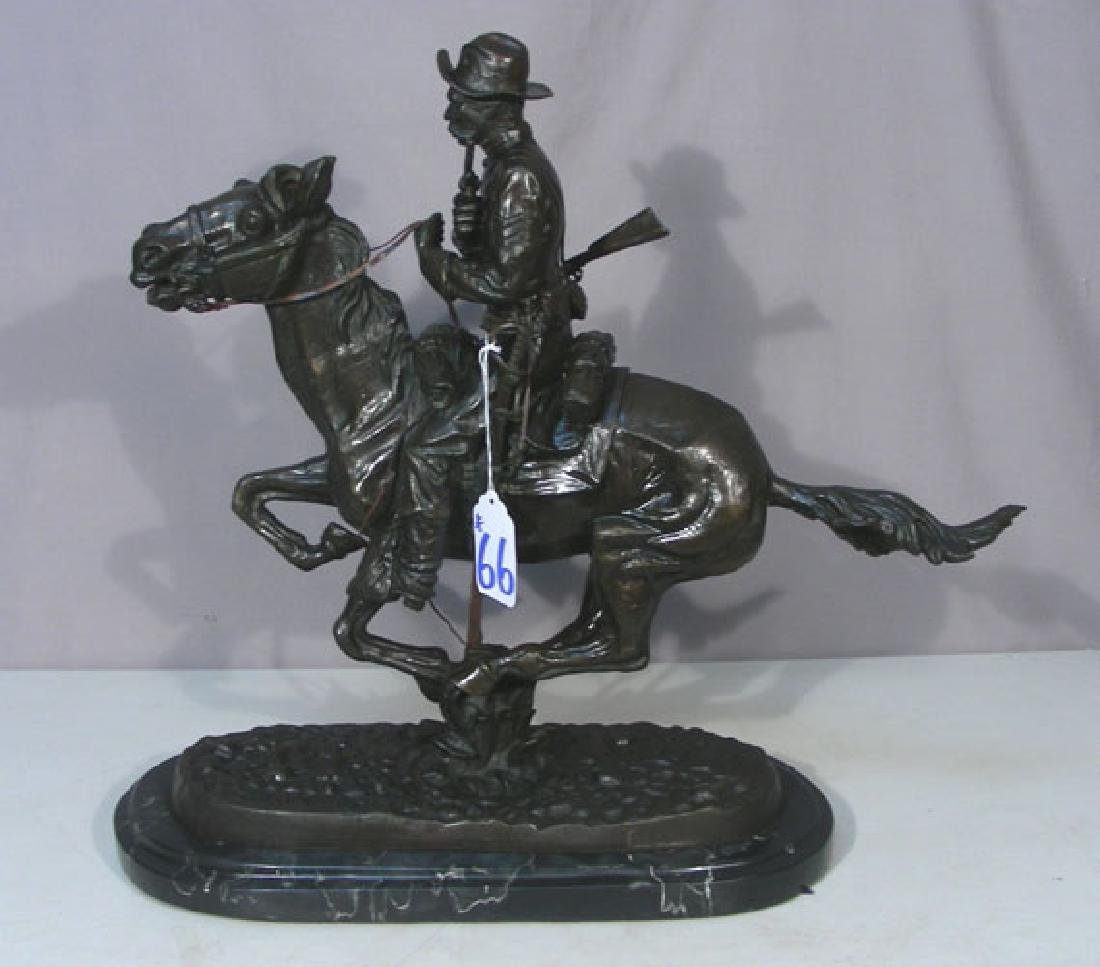 "VINTAGE BRONZE SCULPTURE ""TROOPER OF THE PLAINS"" AFTER"