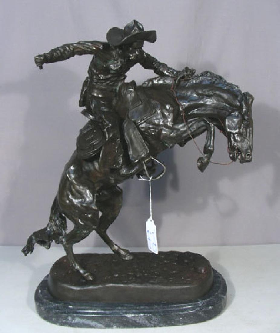 "VINTAGE BRONZE SCULPTURE ""BRONCO BUSTER"" AFTER FREDERIC"