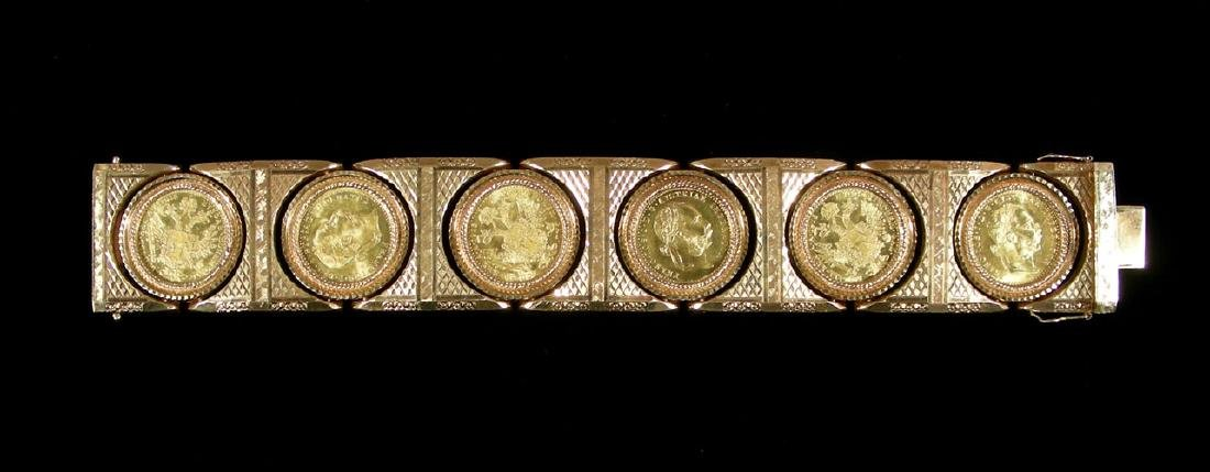 RARE 18K Y.G. BRACELET WITH 6 AUSTRIAN ONE DUCAT GOLD