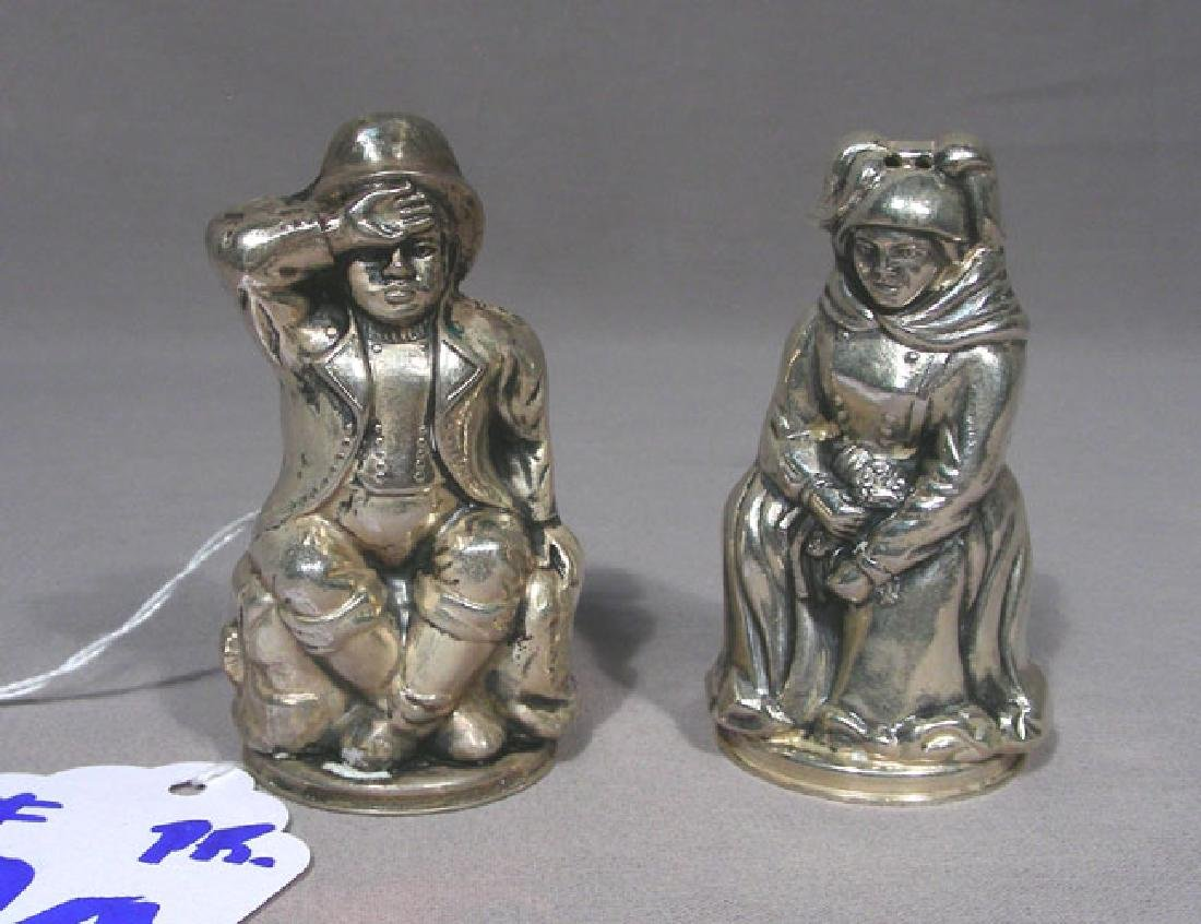 PAIR ANTIQUE STERLING SILVER FIGURAL SHAKERS