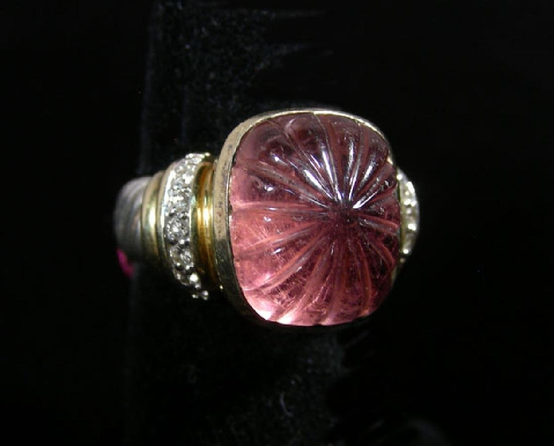 RARE DAVID YURMAN 18K Y.G., STERLING, PINK TOURMALINE &