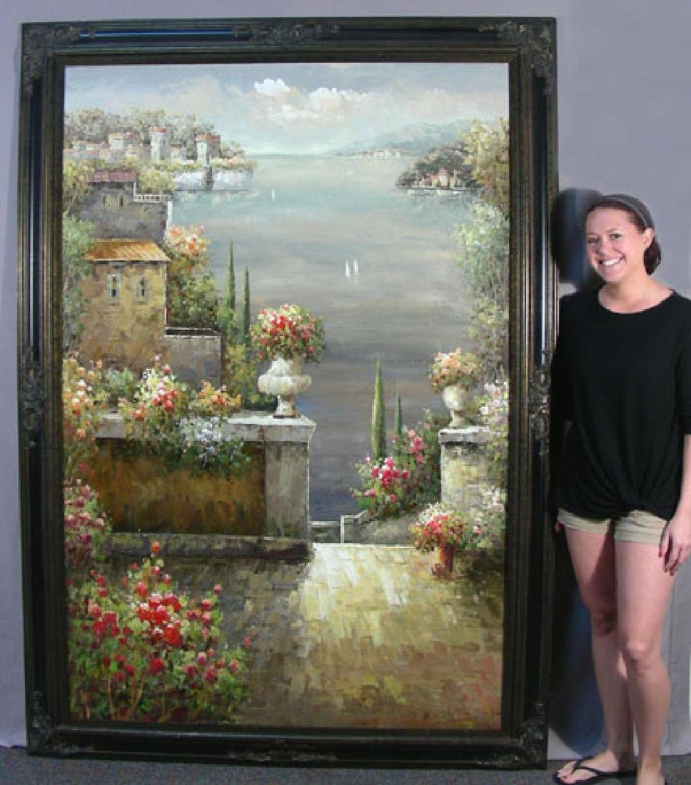 OVERSIZED ORIGINAL OIL ON CANVAS:  FLORAL TERRACE SCENE