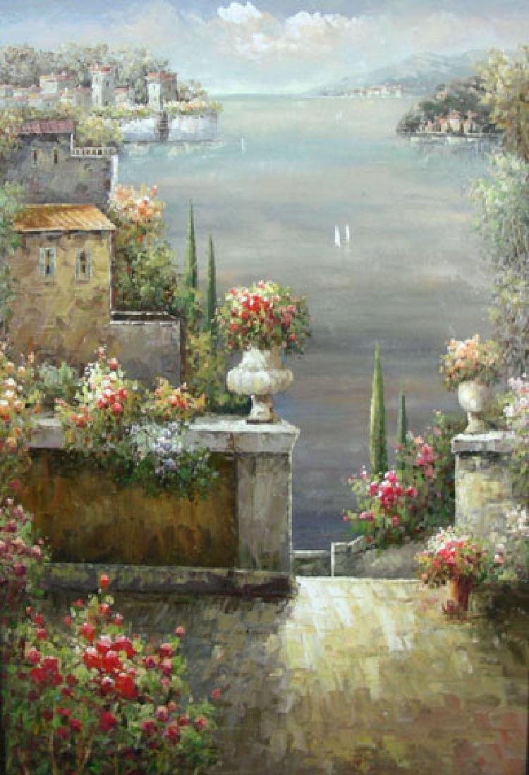 OVERSIZED ORIGINAL OIL ON CANVAS:  FLORAL TERRACE SCENE - 2