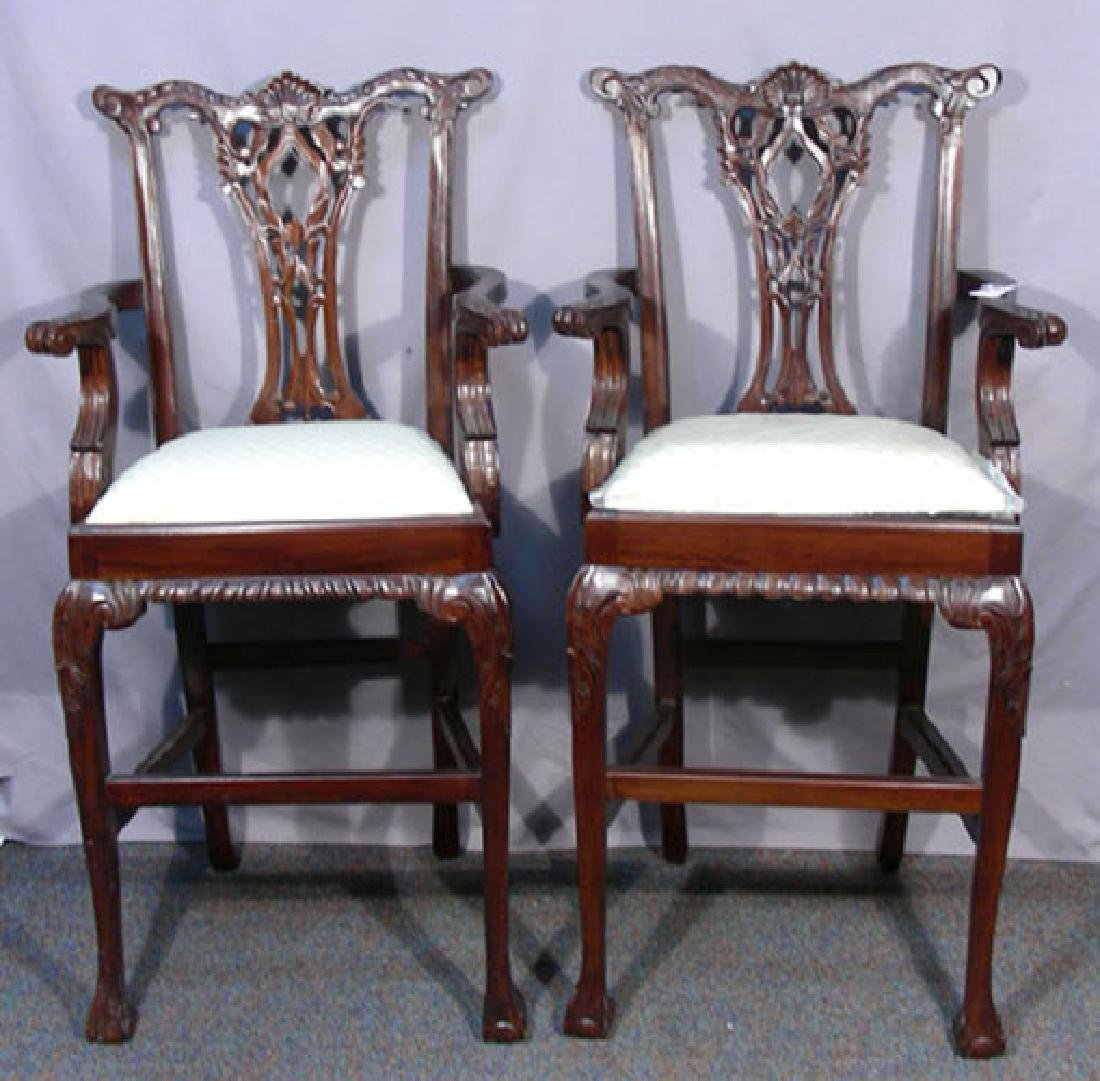 PAIR HAND CARVED MAHOGANY BAR STOOLS