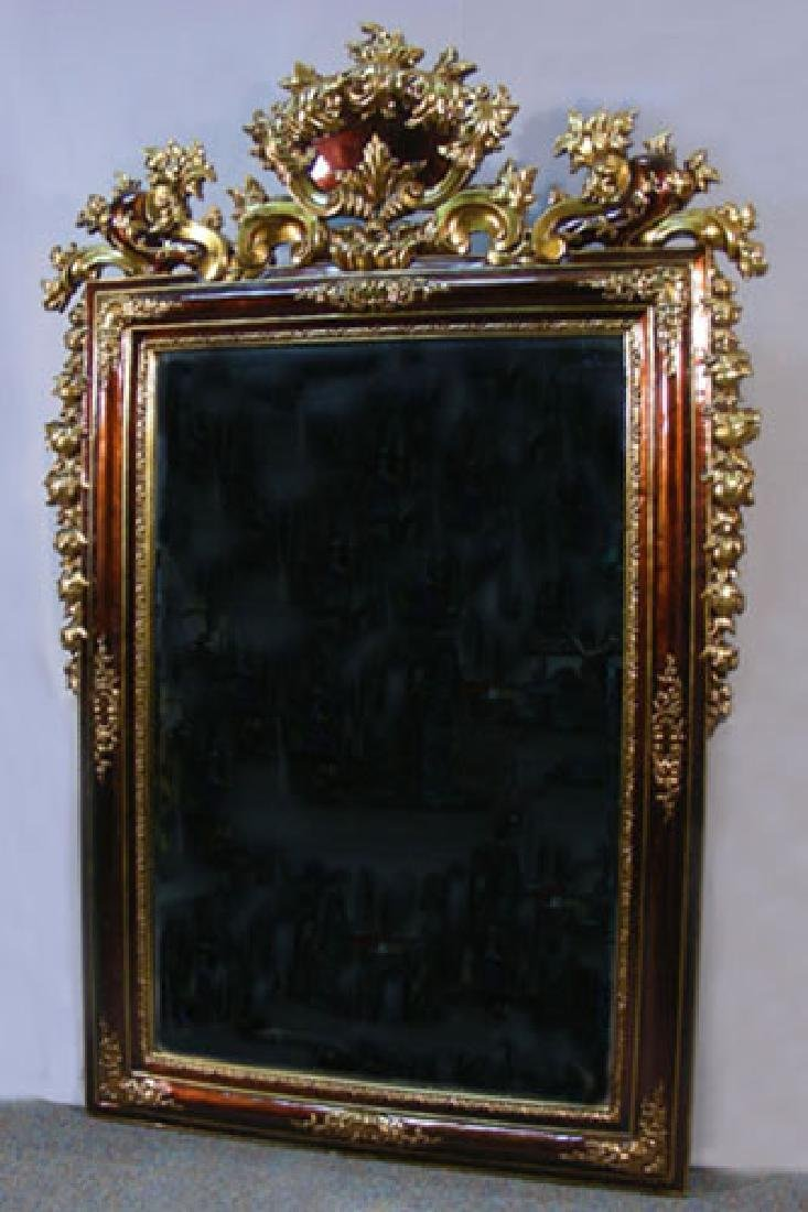 OUTSTANDING LARGE HAND PAINTED ORNATE MIRROR